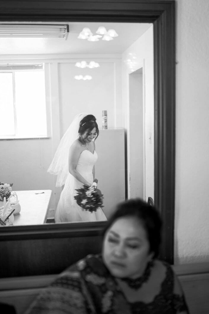 Candid shot of bride before ceremony