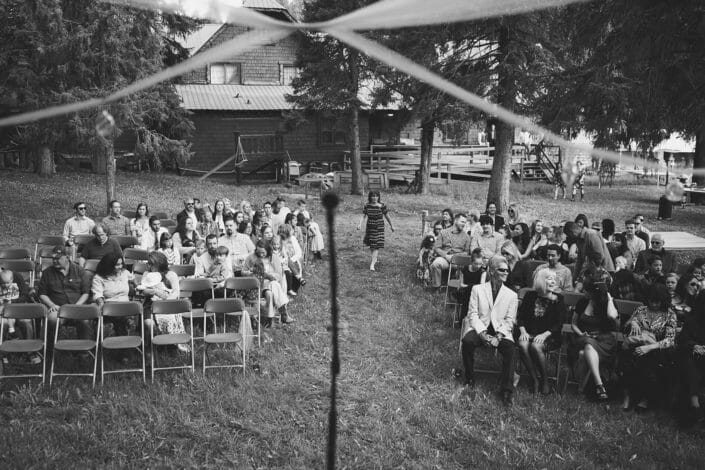 Wedding - artistic shot before ceremony from the stage in black and white