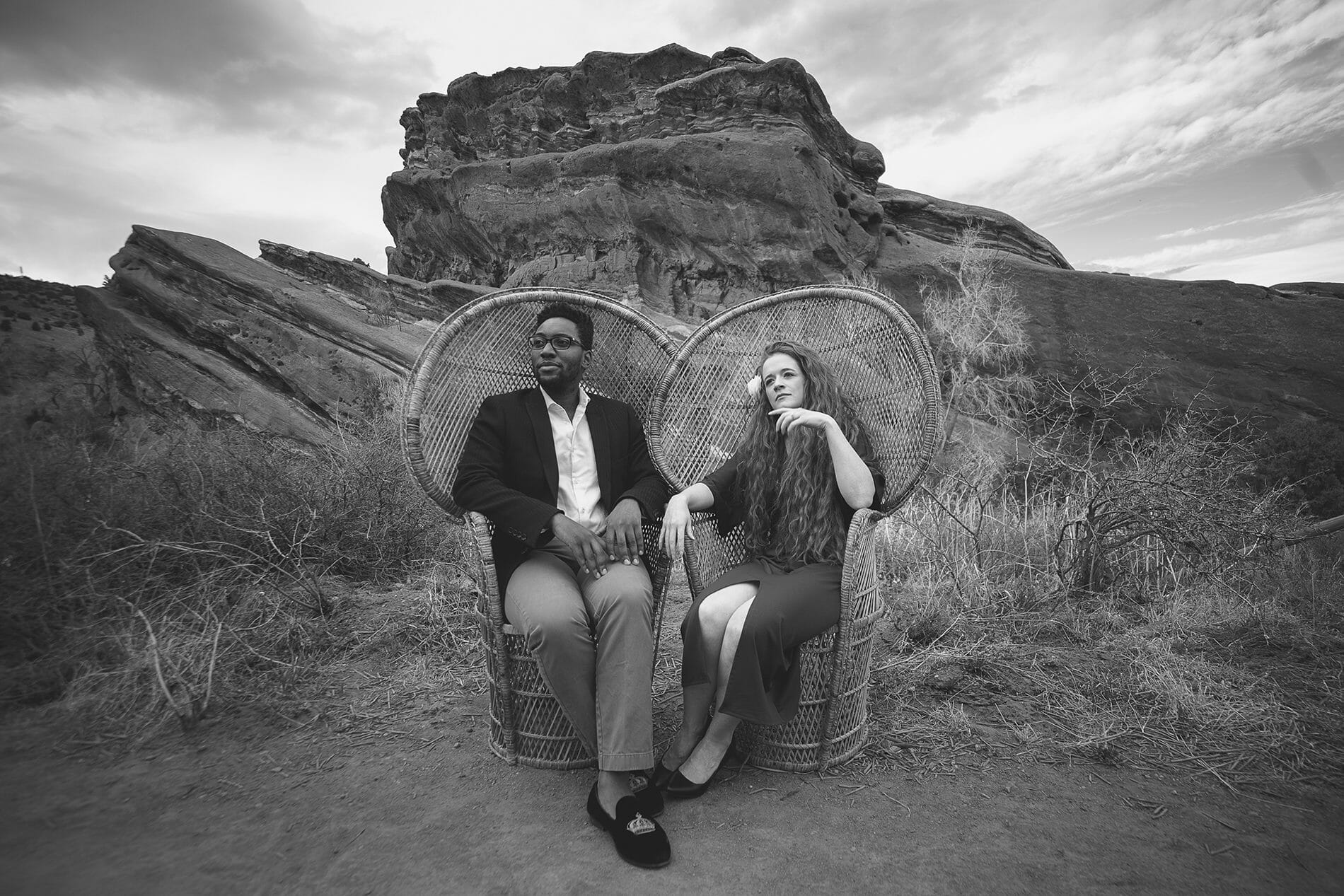 Biracial Couple Outdoor Engagement shoot at Red Rocks in Denver, Colorado