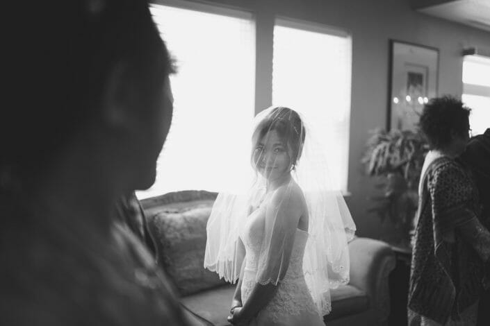 Candid Wedding Photo - Bride black and white