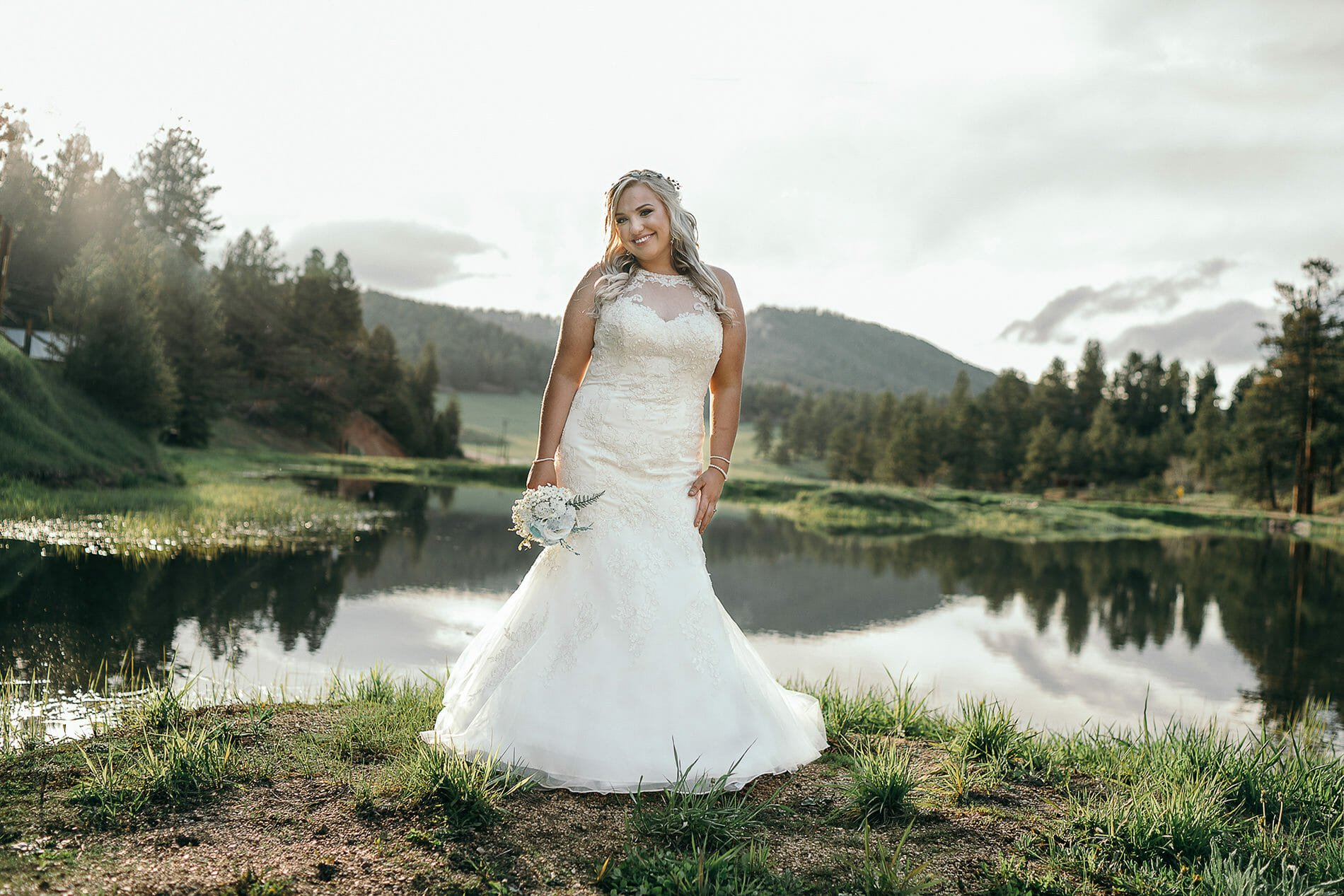 Outdoor Wedding in Colorado - Bride with Mountains